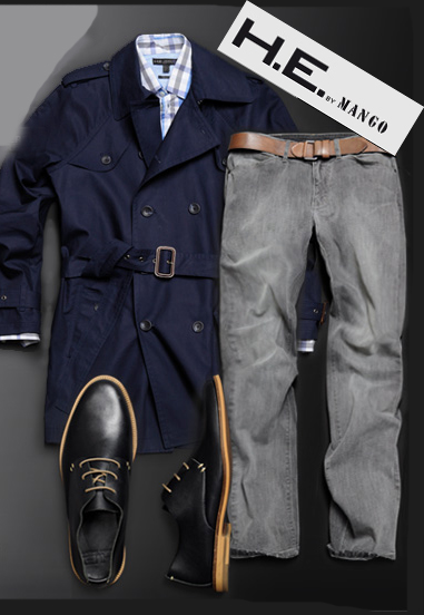 Mens navy trench