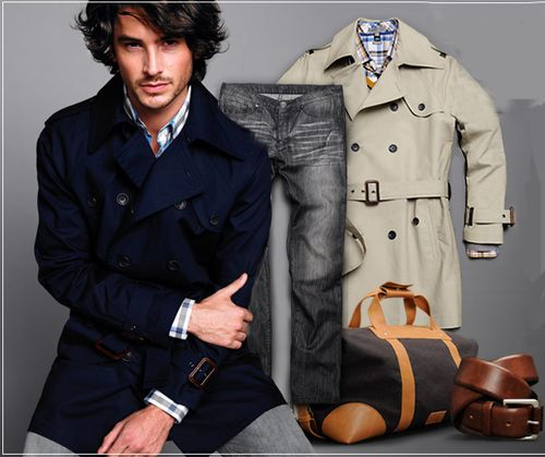 Mens navy and tan trench mango